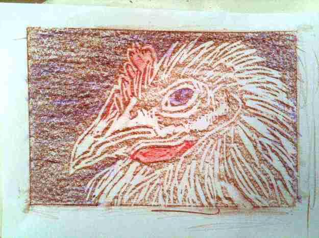 Young chicken linocut 1 rubbing 4 by Janet E Davis.